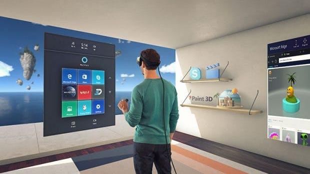 Windows 10 erhält eine holografische Oberfläche, die mit entsprechenden Brillen betrachtet werden kann. (Bild: Microsoft)