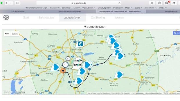 Bildschirmfoto: e-stations