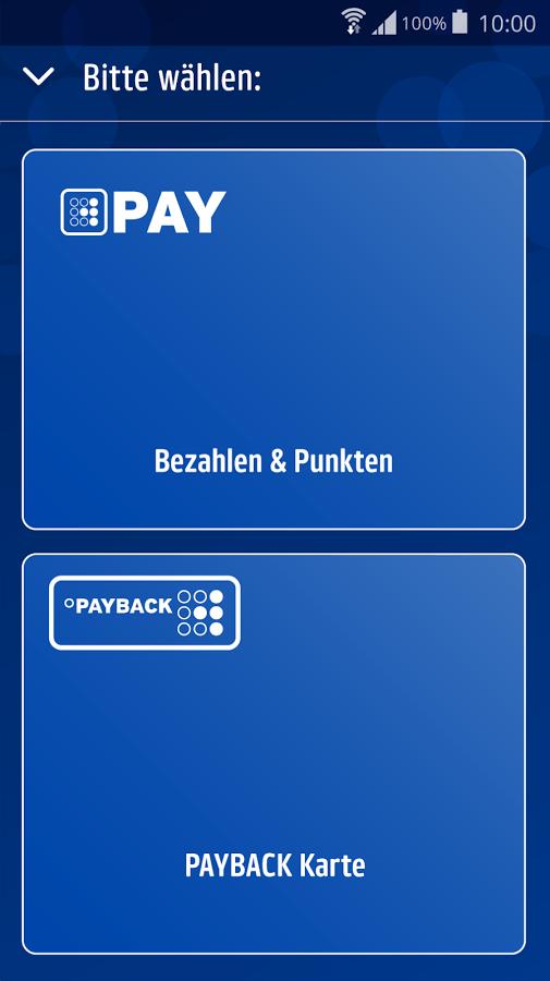 Startbildschirm der Payback App - man beachte das tiefe Blau.