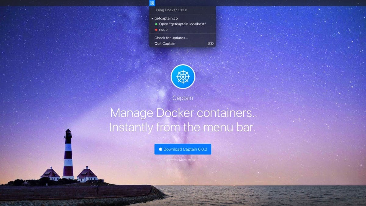 Docker-Container in der Menüleiste: Mit Captain behältst du den Überblick