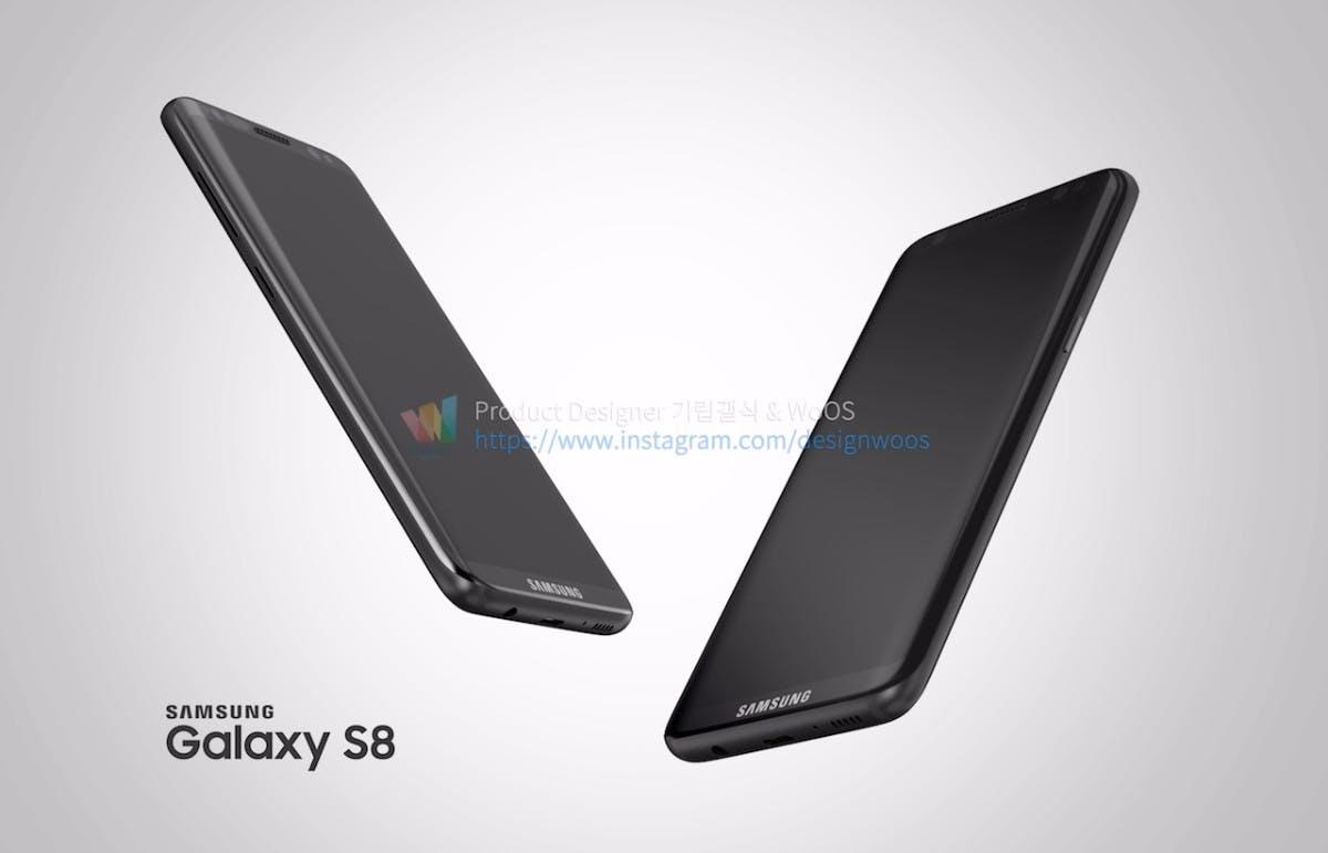 "Samsung-Galaxy-S8-Renderbild. (Bild: <a href=""http://designwoos.com/82"">Designwoos</a>)"