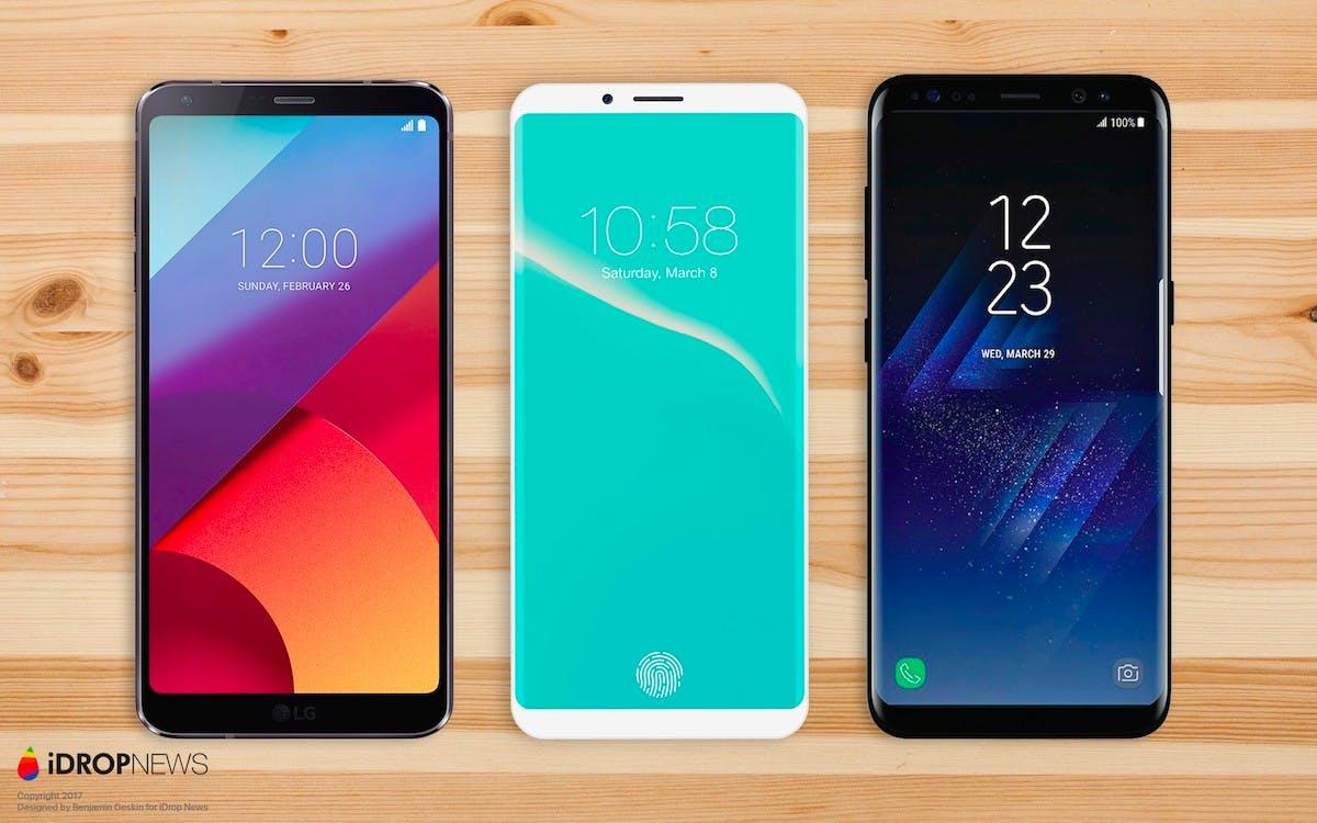 Konzept: So sieht vielleicht das iPhone 8 aus – im Vergleich mit dem Galaxy S8 und LG G6.(Bild: Benjamin Geskin; iDropnews)