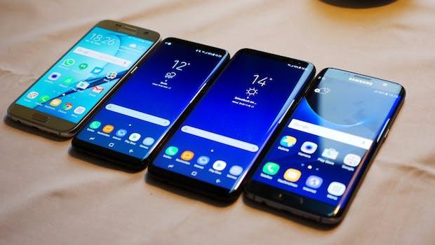Vergleich (v.l.n.r): Samsung Galaxy S7, S8, S8 Plus, S7 Edge.  (Foto. t3n)