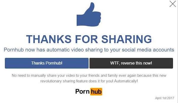 Pornhub teilt auf Facebook, was du gesehen hast: Das ging am 1. April viral