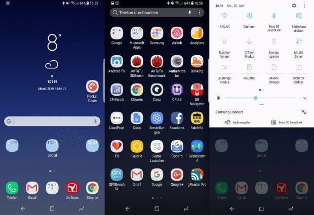 So sieht die Nutzeroberfläche des Samsung Galaxy s8 aus. (Screenshot: t3n)