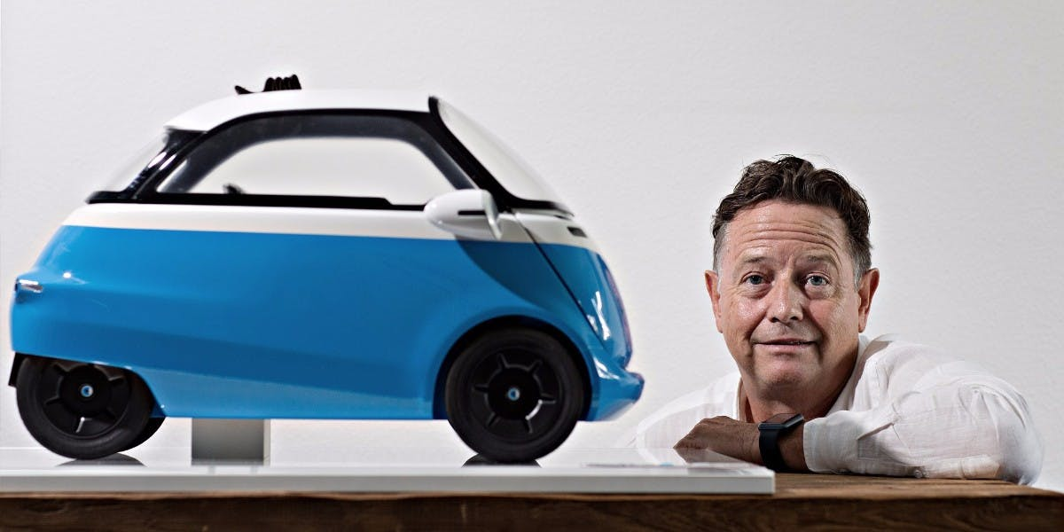 Isetta-Revival: Wim Ouboter mit dem Microlino. (Foto: Micro Mobility)
