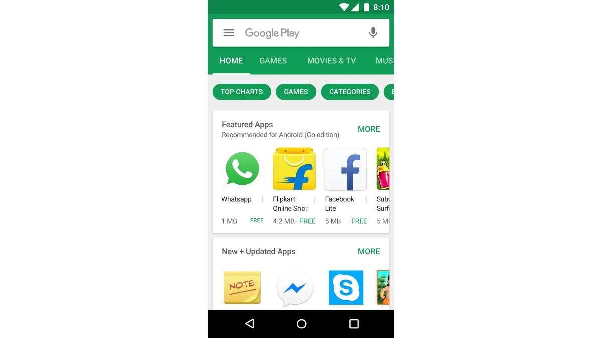 Im Play-Store werden Android-Go-Apps hervorgehoben. (Bild: Google)
