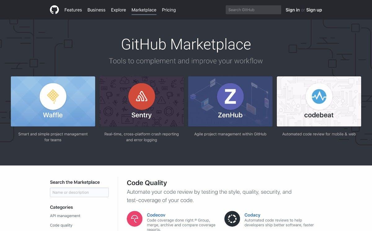 Der Github-Marketplace wurde offiziell eröffnet. (Screenshot: Github)