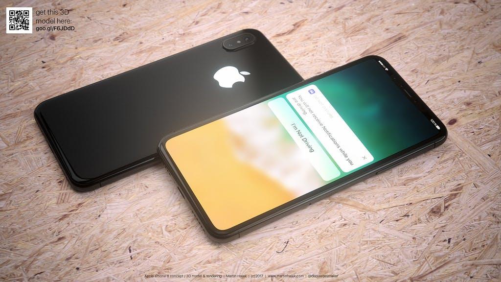 So könnte das iPhone 8 in Schwarz aussehen. (Renderbild: Martin Hajek)