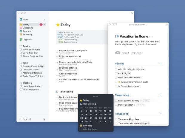 Mit Things 3 können mehrere Fenster des To-do-Tools unter macOS geöffnet sein. (Bild: Things)