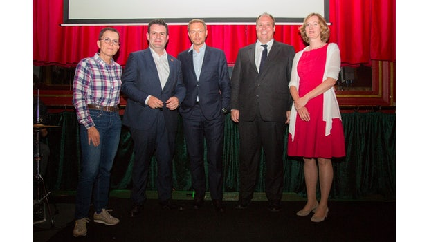 Die Teilnehmer: Petra Sitte (Die Linke), Hubertus Heil (SPD), Christian Lindner (FDP), Helge Braun (CDU) und Kerstin Andreae (Bündnis 90/Die Grünen). (Foto: Get Started)