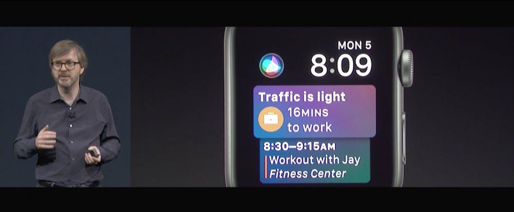 Mit watchOS 4 kommen neue Watchfaces, unter anderem mit Siri integriert. (Screenshot: Apple)