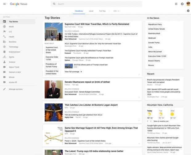 Google News im neuen Design. (Bild: Google)