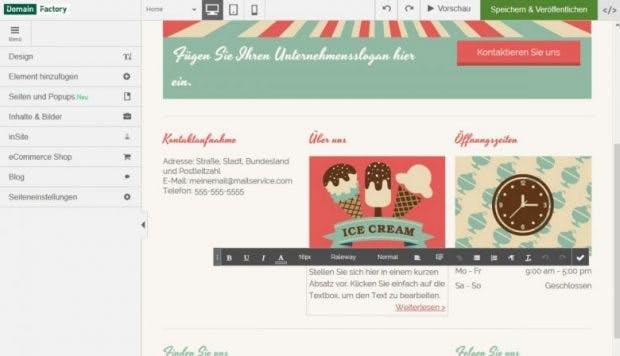 Domainfactory Homepage-Baukasten