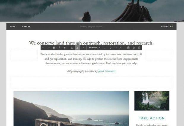 Homepage-Baukasten bei Squarespace