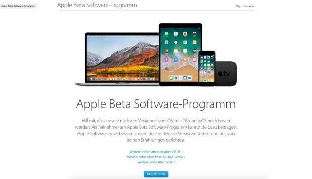 Nutzer können sich auf Apples Beta-Seite für den Test registrieren. (Screenshot: Apple)