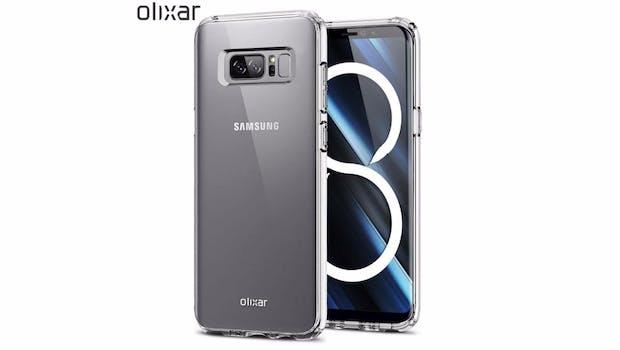 Ein Hüllenhersteller soll das Design des Samsung Galaxy Note 8 geleakt haben.  (Bild:  Phandroid Olixar)