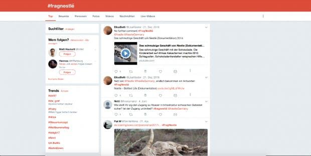 User-generated Content kann auch nach hinten losgehen, das zeigt die Nestle-Kampagne. (Screenshot: Twitter)