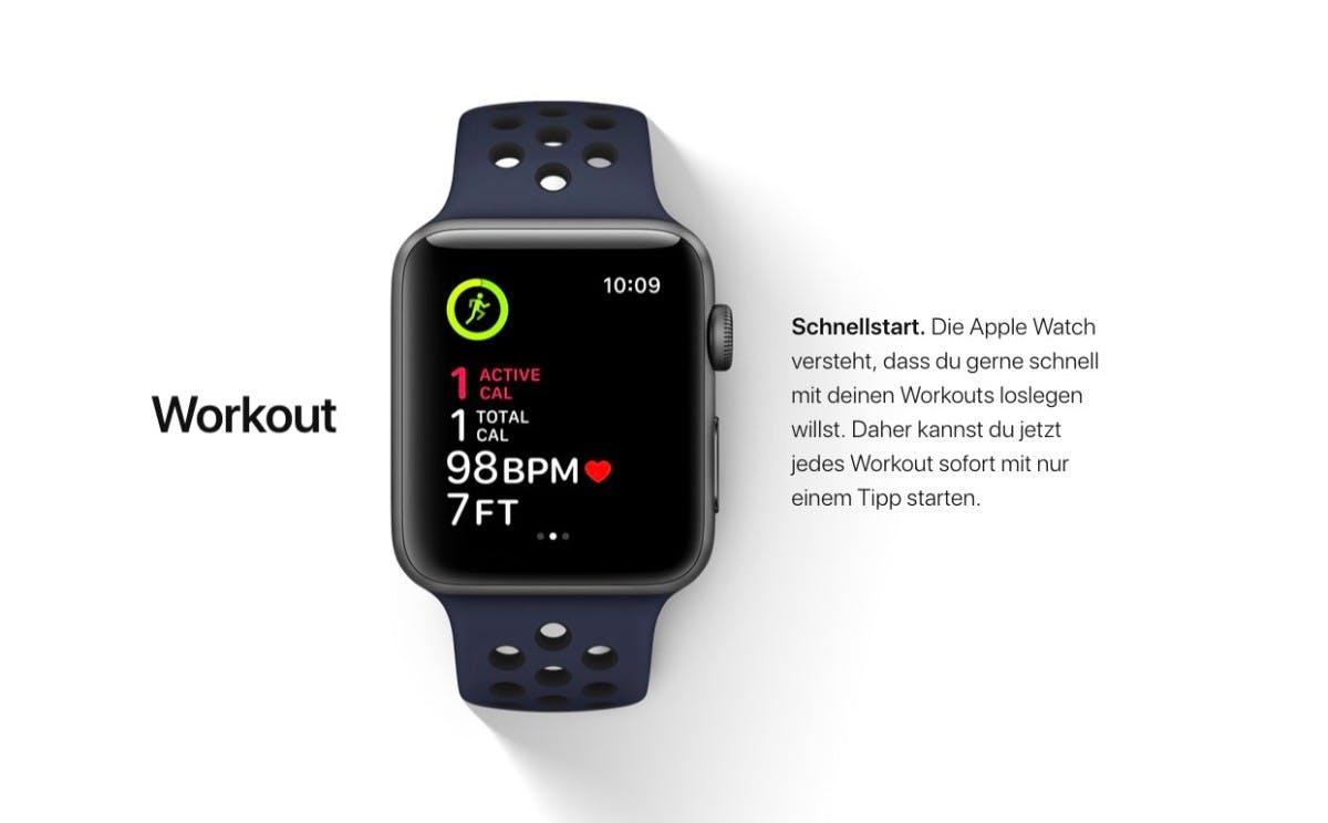 Die Workout-App lässt sich unter watchOS 4 schneller starten. (Bild: Apple)
