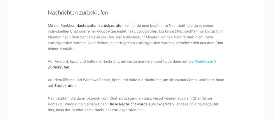 Whatsapp Nachrichten Zurueckrufen Faq T3n Digital Pioneers
