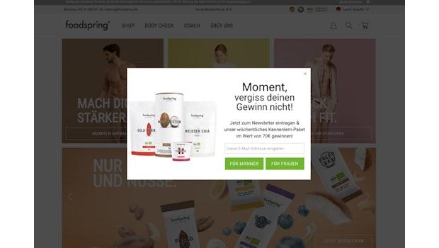 Pop-ups: Bei Foodspring war keine Minute vergangen, wir hatten nicht mal die Chance, uns anzugucken, was die Produkte so einzigartig und besonders macht. (Screenshot: Foodspring.de)