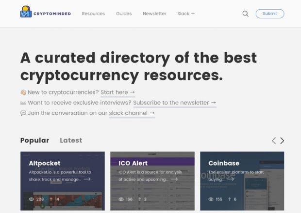 Cryptominded.com will den Einstieg in die Welt der Kryptowährungen erleichtern. (Screenshot: cryptominded.com)