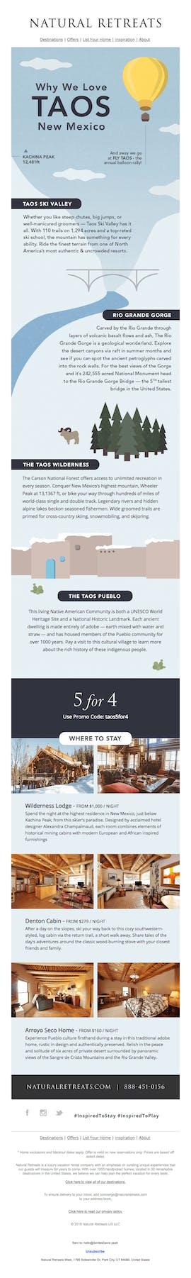 Auch Infografiken können ein belebendes Element für Newsletter-Design sein: Hier das Beispiel des Reiseportals Nature Retreats. (Screenshot: verygoodemails.com)