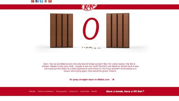 So kreativ kann eine 404er-Fehlermeldung sein. (Screenshot: Kitkat)