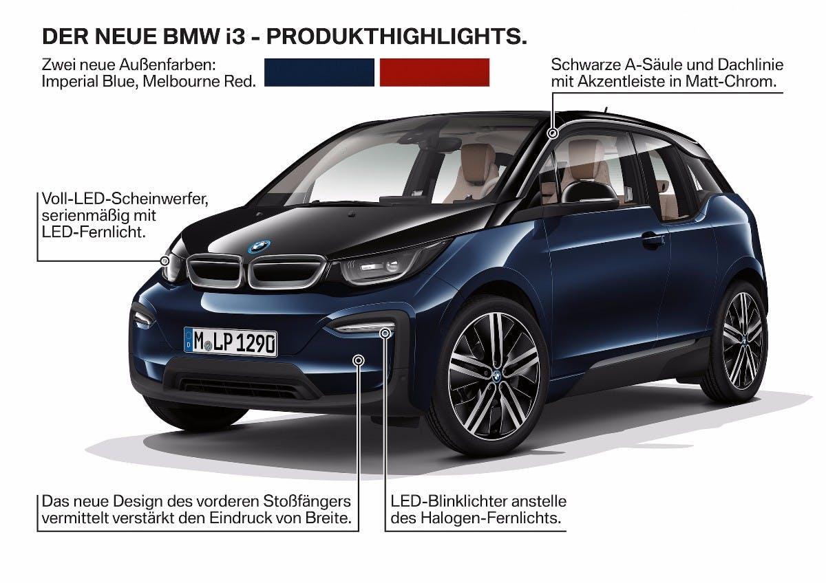 Neuerungen des BMW i3 (2017) im Überblick. (Bild: BMW)