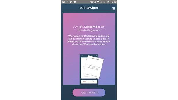 Tinderleicht wählen: Die Wahl-Swiper-App ist der Wahl-O-Mat für die Generation Tinder. (Screenshot: Wahl Swiper)