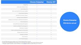 Die Features von Chrome Enterprise im Vergleich zum normalen Chrome-OS. (Bild: Google)