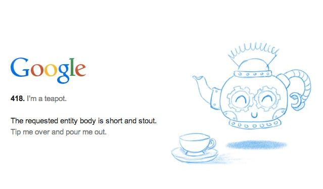 """HTTP-Statuscode 418 """"Ich bin eine Teekanne"""" darf bleiben"""