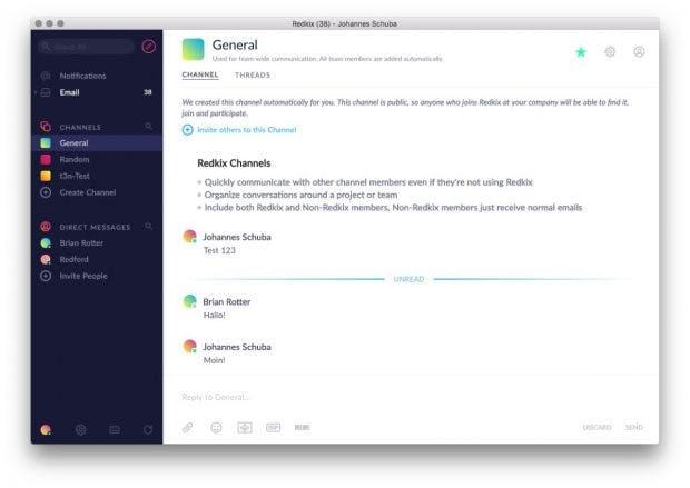 Redkix beherbergt die E-Mail-Inbox, bietet aber auch ganz normale Chat-Features an. (Screenshot: Redkix)