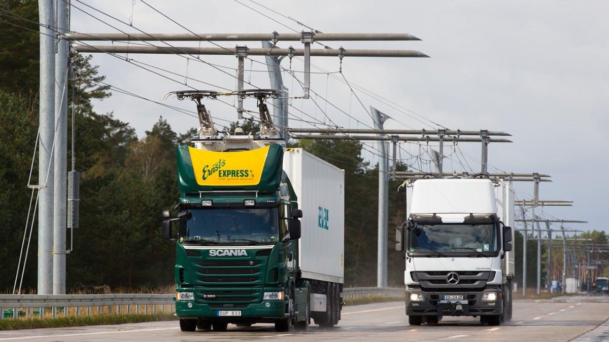 E-LKW statt Güterzug: Siemens baut in Hessen eine Oberleitung über die A5