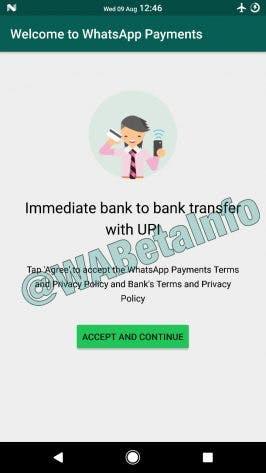 Zur Nutzung von Whatsapp Payments müssen Nutzer erst die AGB des Messengers und einer Bank akzeptieren. (Screenshot: wabetainfo.com)