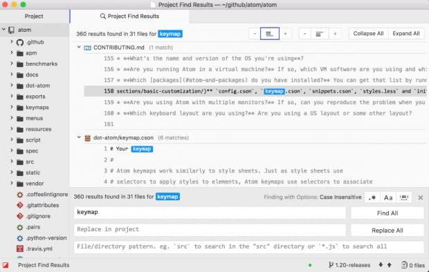 Die Projekt-Suche in Atom zeigt jetzt auch den Kontext des Treffers an. (Screenshot: Atom)