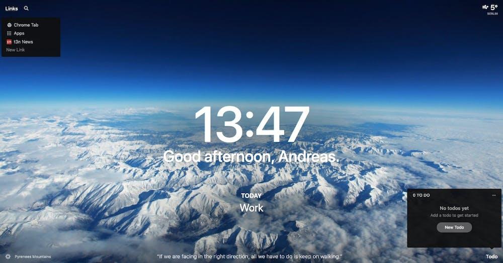 Momentum: New-Tab-Page mit hübschen Fotos und sinnvollen Informationen. (Screenshot: t3n.de)