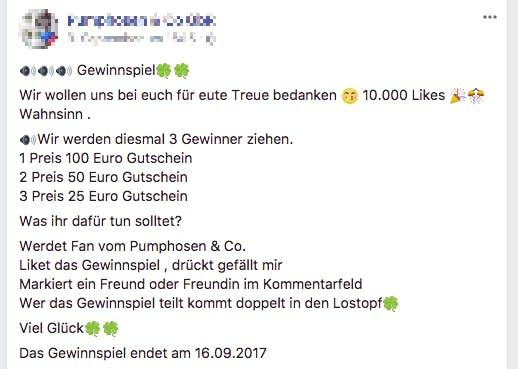 Gewinnspiel Facebook Teilen