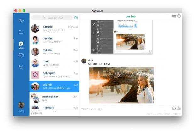 Die Oberfläche von Keybase Teams orientiert sich an den klassischen Team-Messengern wie Slack. (Screenshot: Keybase)
