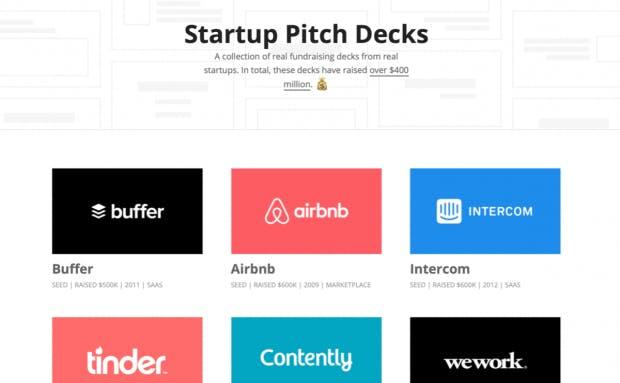 Von den Großen lernen: Attach.io sammelt die Pitchdecks namhafter Techfirmen. (Screenshot: t3n)