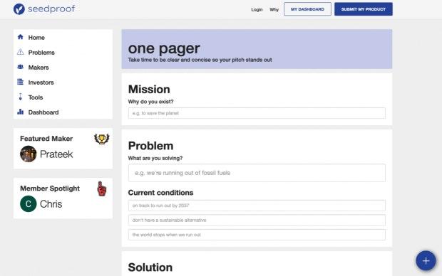 Alles Fakten auf einen Blick: Seedproof bietet einen Onepager für dein Pitchdeck. (Screenshot: t3n)
