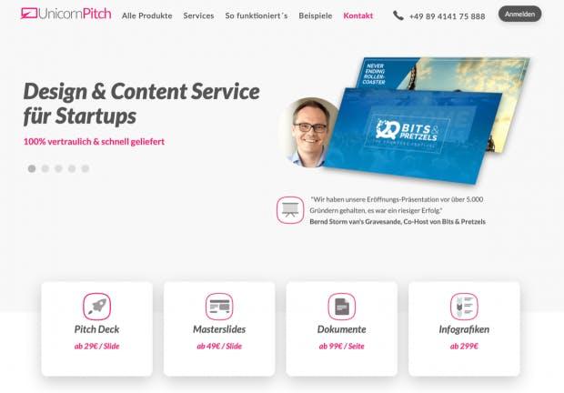 Unicornpitch erstellt professionelle Pitchdecks gegen Bezahlung. (Screenshot: t3n)