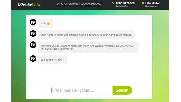 Der Onboarding-Chat mit Websitebutler. (Screenshot: Websitebutler.de)