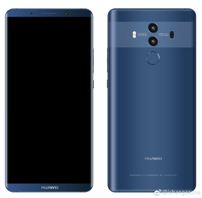 """Das Huawei Mate 10 Pro in Blau. (Bild: <a href=""""http://playfuldroid.com/more-huawei-mate-10-pro-renders-got-leaked-out/"""">Playfuldroid</a>)"""