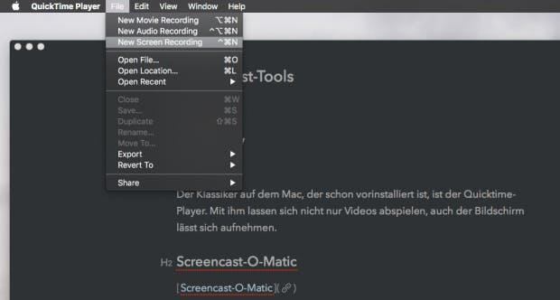 macOS bringt den Quicktime Player mit, der auch als Screencast-Software dienen kann. (Screenshot: Quicktime)