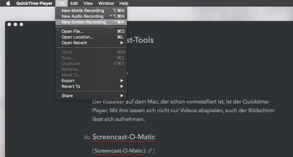 macOS bringt den Quicktime Player mit, der auch als Screencast-Software dienen kann. (Screenshot: Quicktime)