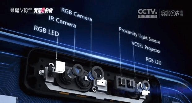 Der 3D-Scanner von Huawei ist etwas anders aufgebaut als Apples Face-ID. (Screenshot: Winfuture)