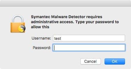 """Über einen gefläschten macOS-Dialog will der """"Symantec Malware Detector"""" an das Nutzerpasswort kommen. (Screenshot: """"Symantec Malware Detector"""" / Malwarebytes)"""