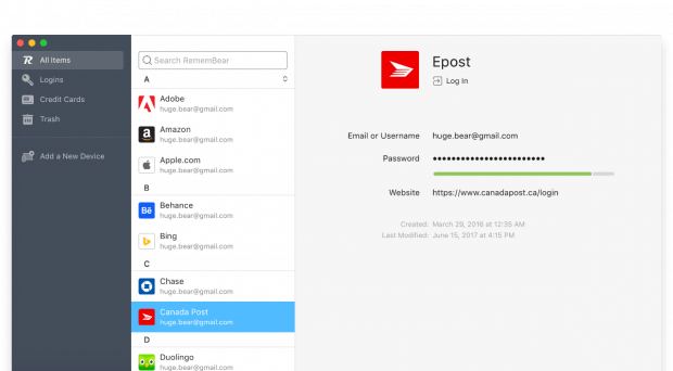 Den neuen Passwort-Manager Remembear gibt es neben macOS auch für Windows, iOS und Android. (Screenshot: Remembear)