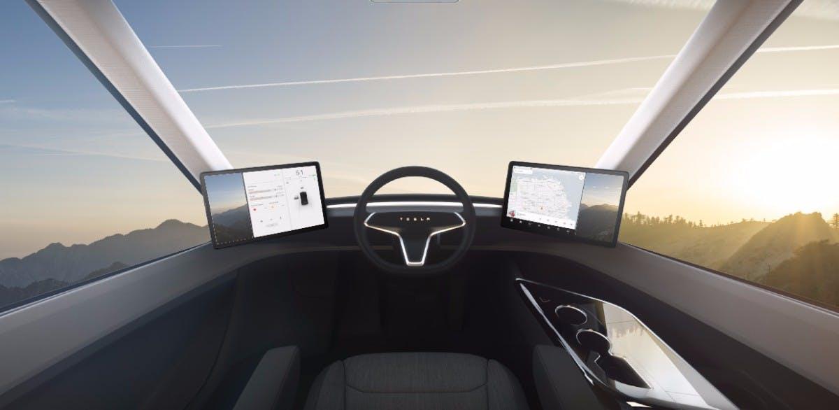 Das Cockpit des Tesla Semi. (Grafik: Tesla)